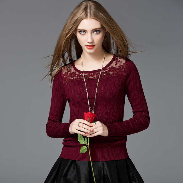 European American style lace knitted women shirt high quality fashion round collar long sleeve pullovers woman sweaters E379
