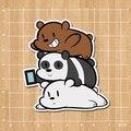 Nós nua ursos Grizzly & Panda & urso de gelo Notebook / geladeira / skate / trolley caso / mochila / livro adesivo PVC etiqueta