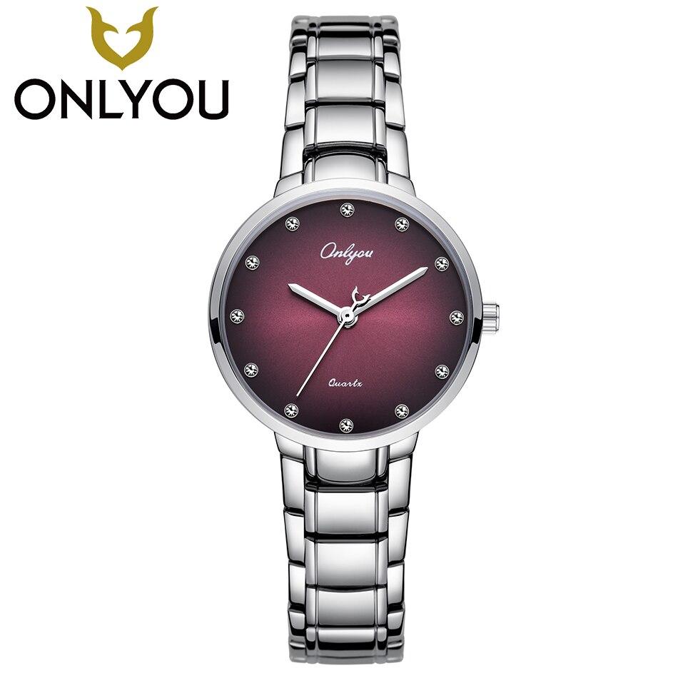 ONLYOU Fahion diamante mujeres reloj de lujo reloj de las señoras impermeable de acero inoxidable reloj de cuarzo