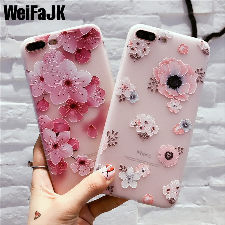 baa17fce9 WeiFaJK Flower Pattern Case For iPhone 6 6s Case Soft Silicone Floral  Protect Soft Full Cover For iPhone 7 8 Plus X Phone Cases