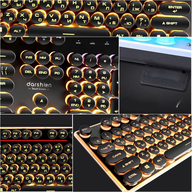 Gaming Russian Keyboard Retro Round Glowing Keycap Metal Panel Backlit USB Wired Metal Panel Illuminated Border Waterproof