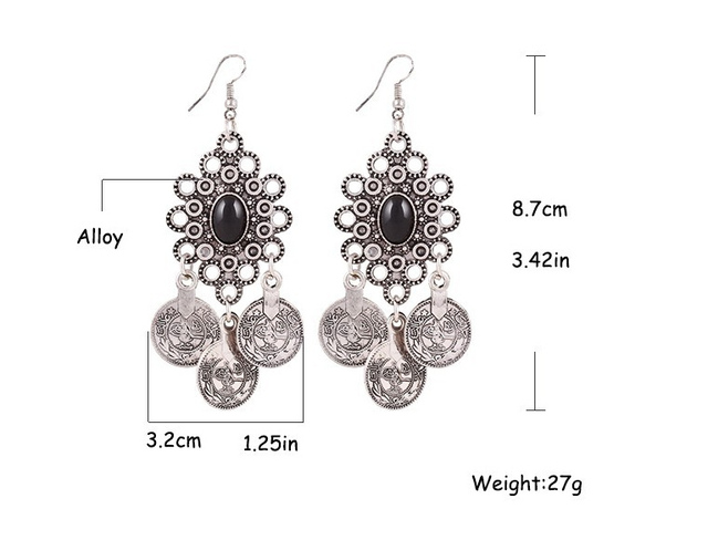 Vintage Silver Turkish Coin Earrings floral design Boho Gypsy Beachy Ethnic Tribal Festival Jewelry Turkish Bohemian Earrings 5