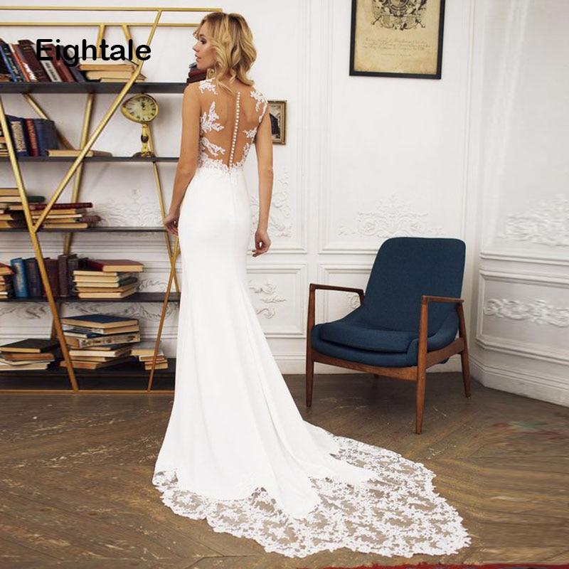 Eightale Mermaid Wedding Dresses 2019 Beach Appliques Custom Made Bridal Dress Boho Wedding Gown With Small Train Free Shipping