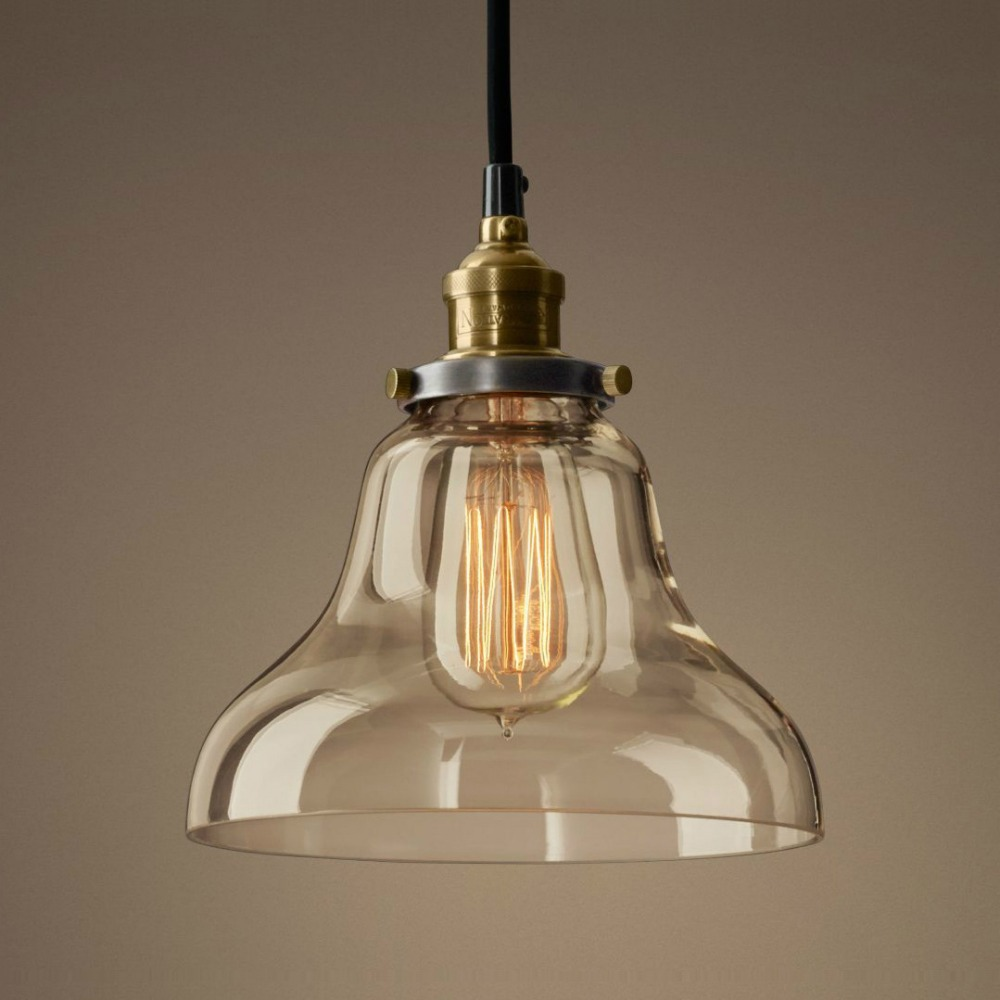 Vintage Loft Industrial American Lustre Glass Edison Pendant Lamp Plate Kitchen Dinning Living Room Modern Home Decor Lighting edison inustrial loft vintage amber glass basin pendant lights lamp for cafe bar hall bedroom club dining room droplight decor