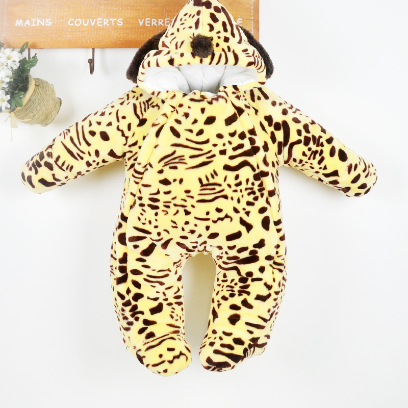 ФОТО Winter thickening baby down cotton coat romper dog cartoon style infant one piece romper coral fleece baby outwear Kids clothes