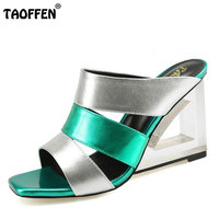TAOFFEN Women Wedges Sandals Real Leather Slippers Peep Toe Shoes Women Cross Wrap Heels Sandals Daily