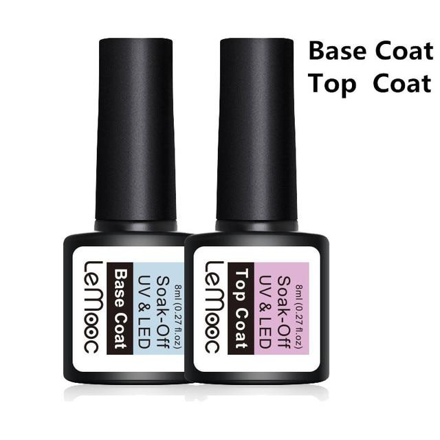 LEMOOC 8ml Top Coat Base Coat Soak Off Gel Nail Polish UV LED Nail Building Finger UV Gel Varnish Transparent Nail Art Lacquer