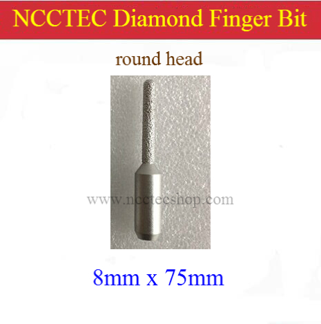 [round Head] 8mm 5/16'' Straight Diamond Vacuum Brazed Router Finger Bit With 1/2