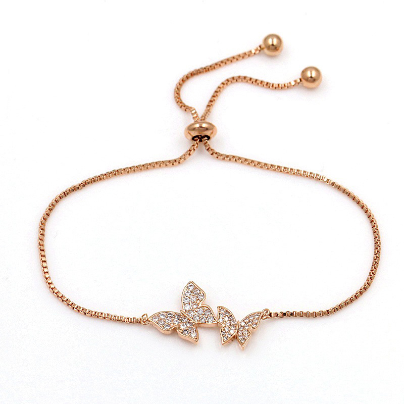 Tiny Trendy Cubic Zirconia Crystal Butterfly Bracelet Luxury Cz Stone Rose Gold Adjustable Bracelet For Women Jewelry S-L0003 1