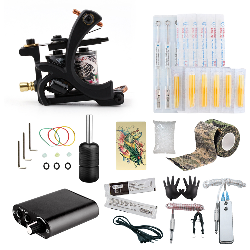 Starter Tattoo Kit 8 Wrap Coils Tattoo Gun Machines Grips Needles Tips Power Supply Beginner Tatu Tattoo Supplies(China)