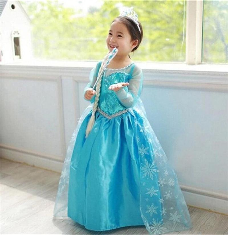 Girls Anna Elsa Princess Dress Children Clothing Cosplay Costume Kids Party Dress Baby Girls Clothes Carnival Dress-Up Vestidos цена 2017