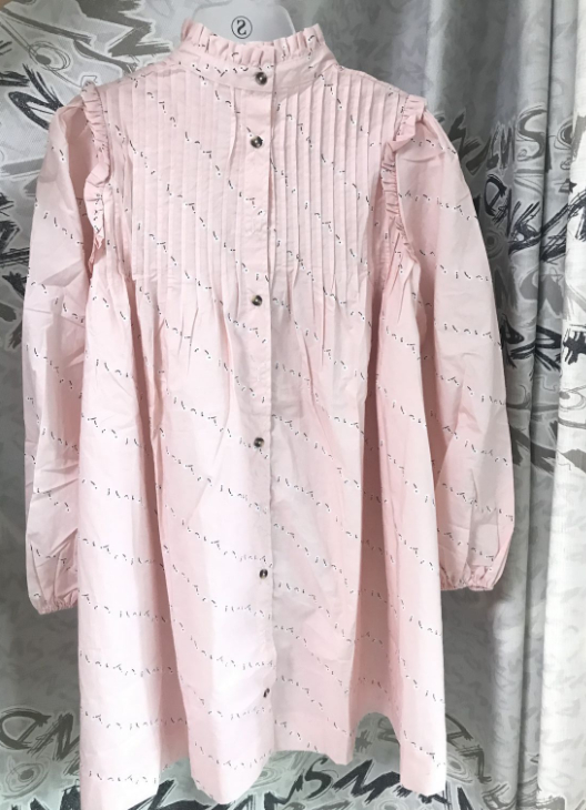 2019 ใหม่ผู้หญิงสีชมพูหลวมคอพิมพ์เสื้อแขนยาวหวาน Chic ชุด-ใน ชุดเดรส จาก เสื้อผ้าสตรี บน   1