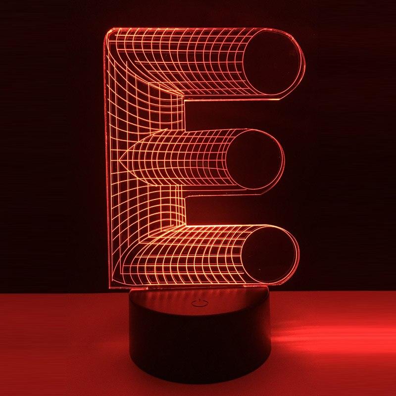 Name DIY 3D Led night light for baby alphabet letter E 7 color change Desk Table home bar decoration Chriatmas New Year Present