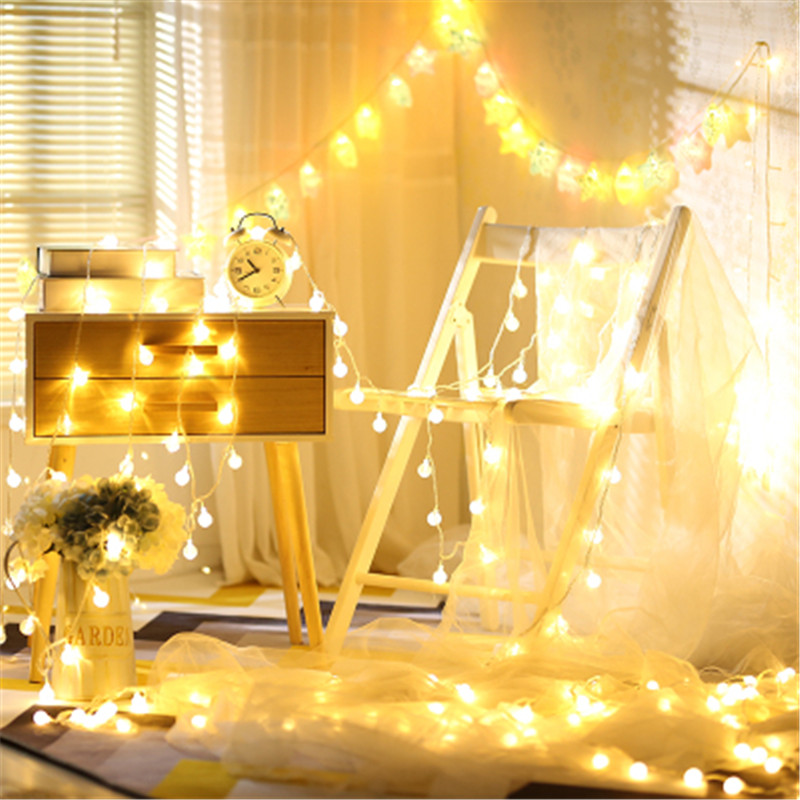 10M 100LEDS EU Plug LED Christmas Tree Garland String Lights Led Xmas Decoration Outdoor Ball Curtain Fairy Holiday Lights