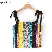Women Multicolor Sequin Cami Sexy Crop Top Adjustable Straps Tanks Top Slim Backless Summer Camisole Tops