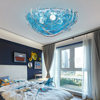 クリエイティブブルー鳥の巣の天井ランプ子供部屋の寝室ランプ地中海スタイル照明レストラン照明ウォームロマンチックな -