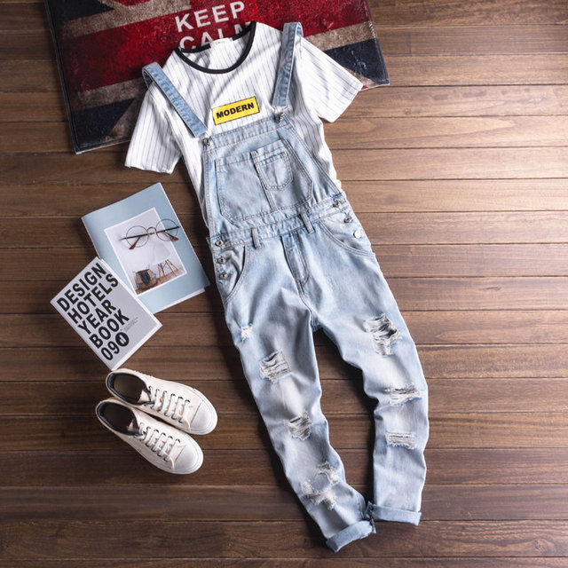 8c670eefe9e9 2018 Fashion New Bib Overalls Jeans For Men Europe and America Vintage  Men s Ripped Jeans Man