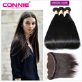 Peruvian Straight Virgin Hair 3 Bundles With 13*4 Ear To Ear Lace Frontal Closure 7A Unprocessed Straight Hair Frontal Closure