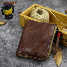 PNDME handmade first layer cowhide coin purses retro simple small daily soft genuine leather with coin zipper credit cards bags