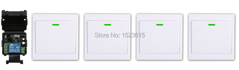 New DC12V 1CH Wireless Remote Control Switch System Receiver +4*Wall Panel Remote Transmitter Sticky Remote Smart Home Switch ac 220 v 1ch wireless remote control switch system receiver wall panel remote transmitter sticky remote smart home switch