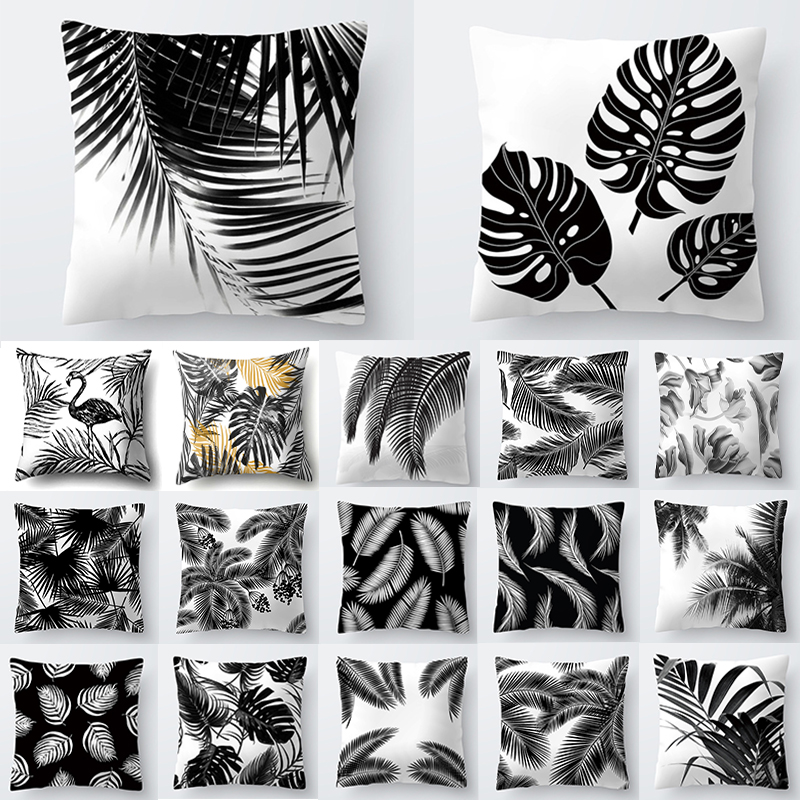 Nordic Decoration Home Tropical Decoration Cushion Cover Pillow Black White Plant Leaves Decor For Home Throw Pillow 40547