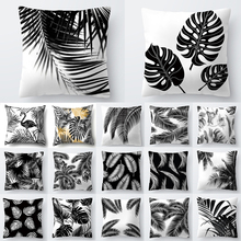 Nórdico decoración hogar Decoración tropical cojín negro Planta blanca hojas decoración cojín para el hogar 40547