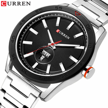 CURREN Male Clock Classic Silver Watches For Men Military Quartz Stainless Steel Wristwatch With Calendar Causal Business Style