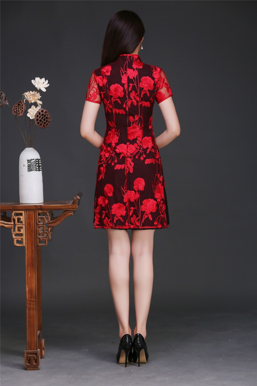 6d201cca68e2 € 40.89 34% de DESCUENTO|Shanghai historia diseño de moda qipao 2 capa  estilo chino vestido rojo de cheongsam para las mujeres en Vestidos de La  ...