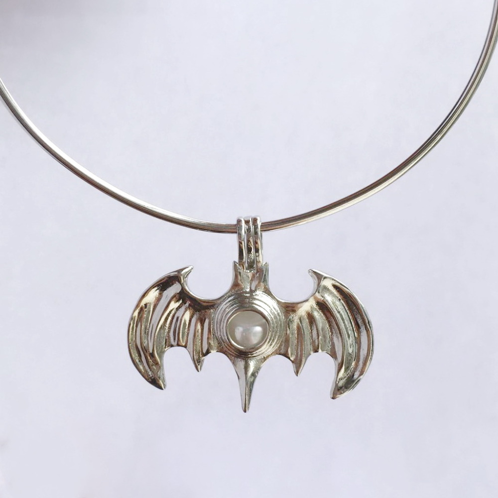 New Design 18KGP Cool Bat Locket Cages, Pearl Gem Bead Cage Pendant Mountings, DIY Fashion Jewelry Making locket