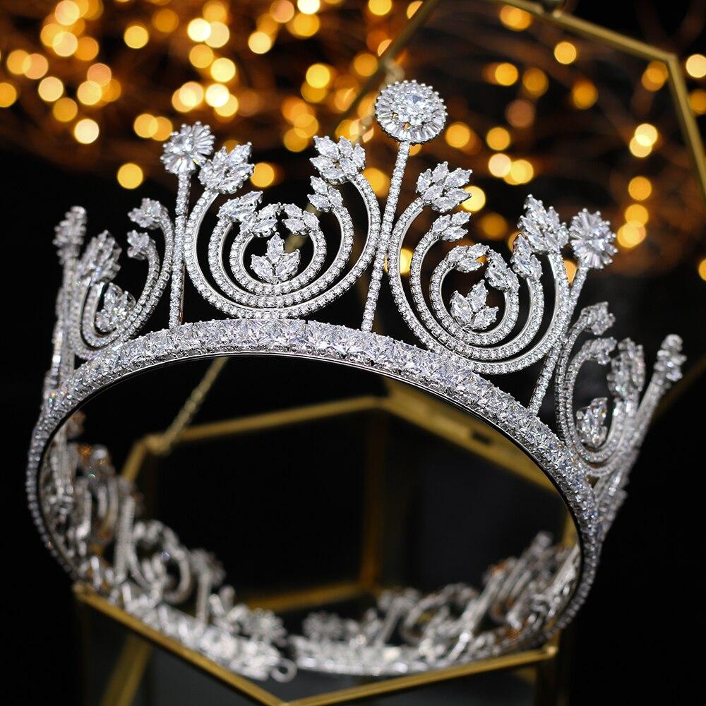Luxe rétro reine des rois mariée zircon couronne pour femme chapeaux de bal mariée coiffure et couronne cheveux bijoux accessoires