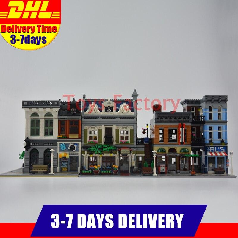 Modular MOC City Town Street LEPIN 15001 Bank 15010 Parisian Restaurant 15011 Detective's Office Model Building Kit Blocks 10246