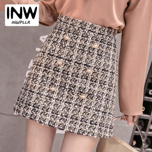 4371dca89 € 15.23 |Falda a cuadros Vintage para Mujer invierno 2019 nueva Moda falda  de cintura alta señoras Faldas de lana Jupe Mujer Hiver Faldas Mujer ...