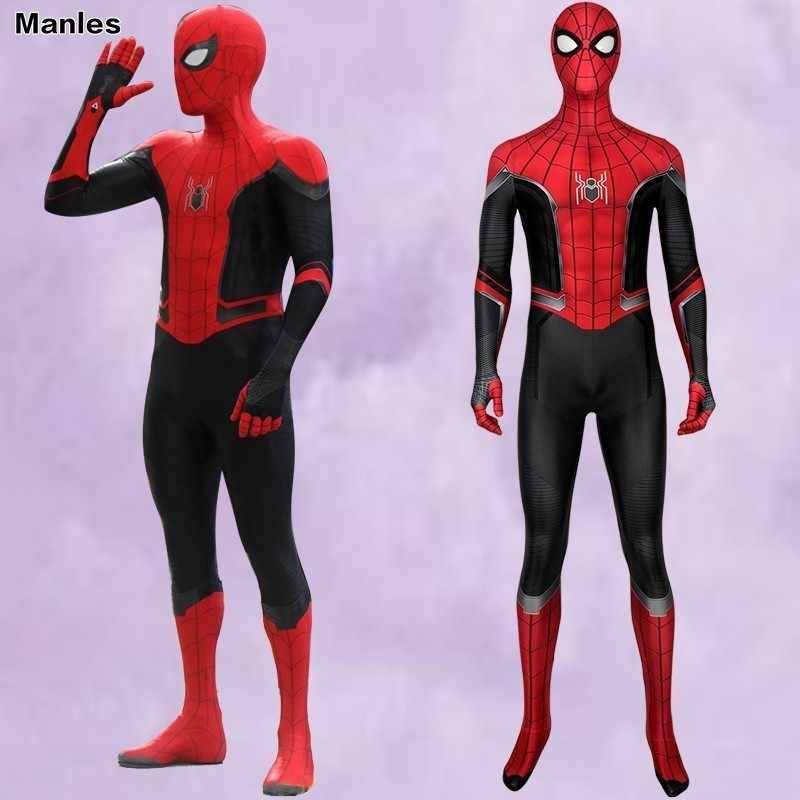 Marvel Spider-Man Spider-Man Costume Peter Parker Longe de Casa Spiderman Cosplay Adulto Halloween Carnaval Festa Macacão masculino