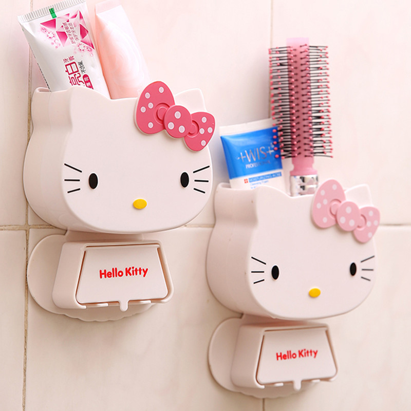 1 PC Cartoon Toothbrush Holder Hooks Hello Kitty Storage Box Adhesive Bathroom Accessories Paste Toothbrush Organizer Container image