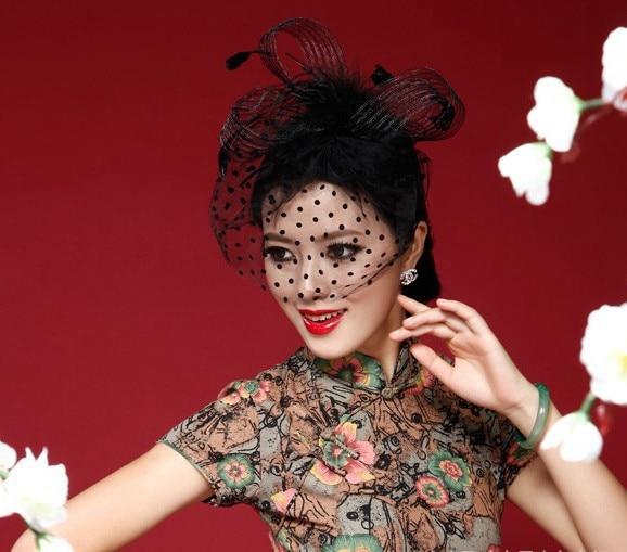 Elegant Black Women Bridal Hats And Fascinators Headpiece Headband Lady Face Veils Dot Net With Lssuing 2018 Wedding Accessories