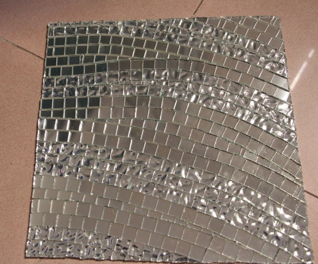 Wave Mirror Glass Silver Mosaic Tile Swimming Pool Kitchen