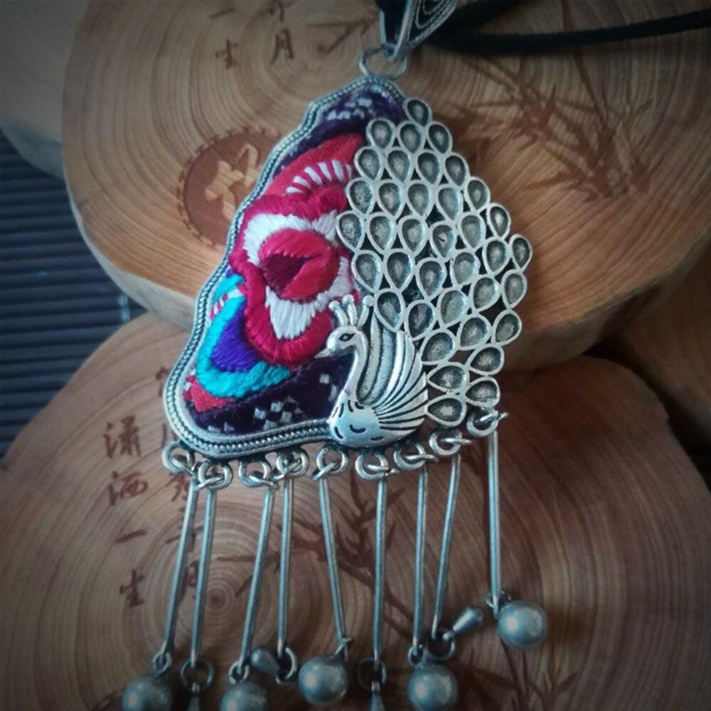 Collier brodé à la main broderie Miao pendentif paon pendentif en argent livraison gratuite