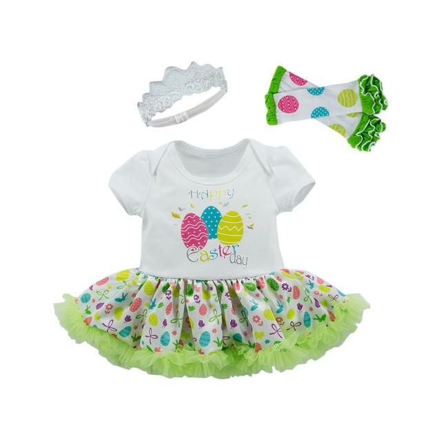 Happy Easter Eggs Baby Girl Romper 3pcs Set Newborn Baby Outfit Toddler Lace Tutu Headband Vestido Bebes Menina Infant Clothes