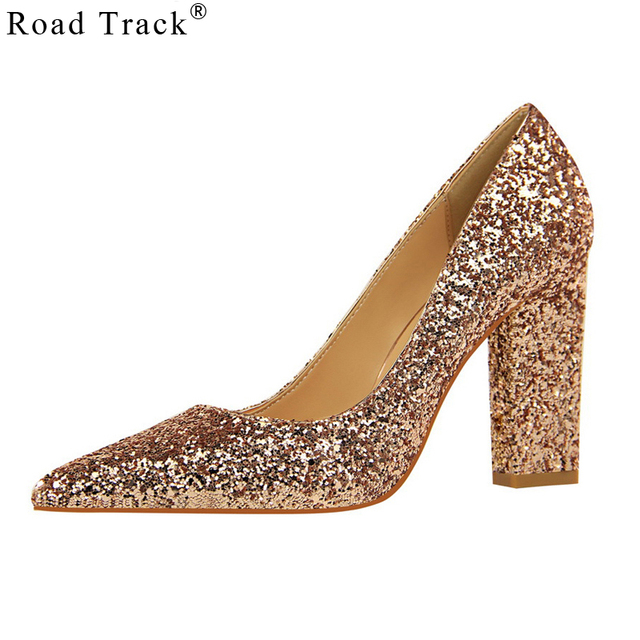 Road Track Women Pumps High Heel Shallow Mouth Pointed Sparkling Sequined  Sexy Night Club Bling Slip-on Single Shoes XWC1485-5 e9b851000d47