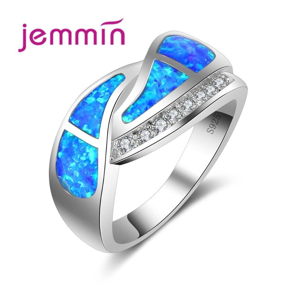 Jemmin Hot 925 Sterling Silver Jewelry Light Blue Fire Opal Ring Twist Intersect Wave Pattern for Women Lady Noble Gift