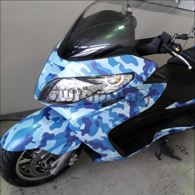 Blue Jumbo Navy Camouflage Motorcycle Wrapping Vinyl