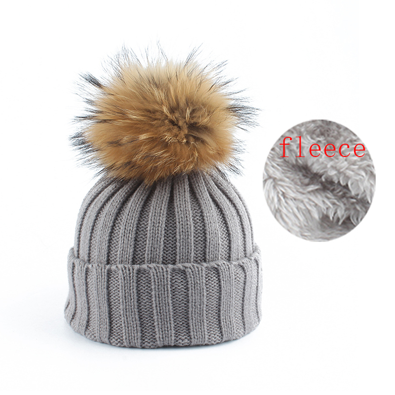 Winter Kids Beanie Boys Girls Fleece Liner Warm Hat Real Raccoon Fur Pompom Skullies Beanies Baby Knitted Hats For Children