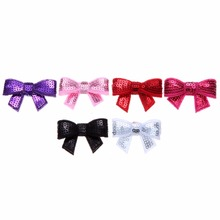 50pcslot 177'' 6Colors Shiny Sequin Felt Bows DIY Fashion Applique Headband Glitter Bows Baby Girls Hair Accessory