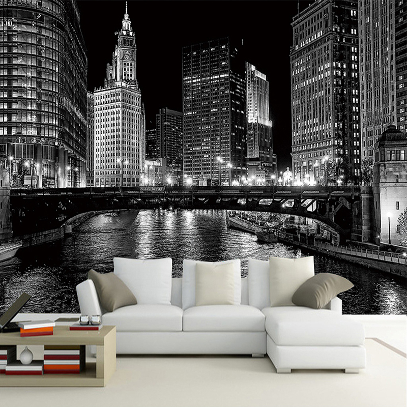 Custom Photo Wallpaper Modern Art Black And White City Photography Background Living Room Sofa TV Backdrop Wall Mural Wallpaper