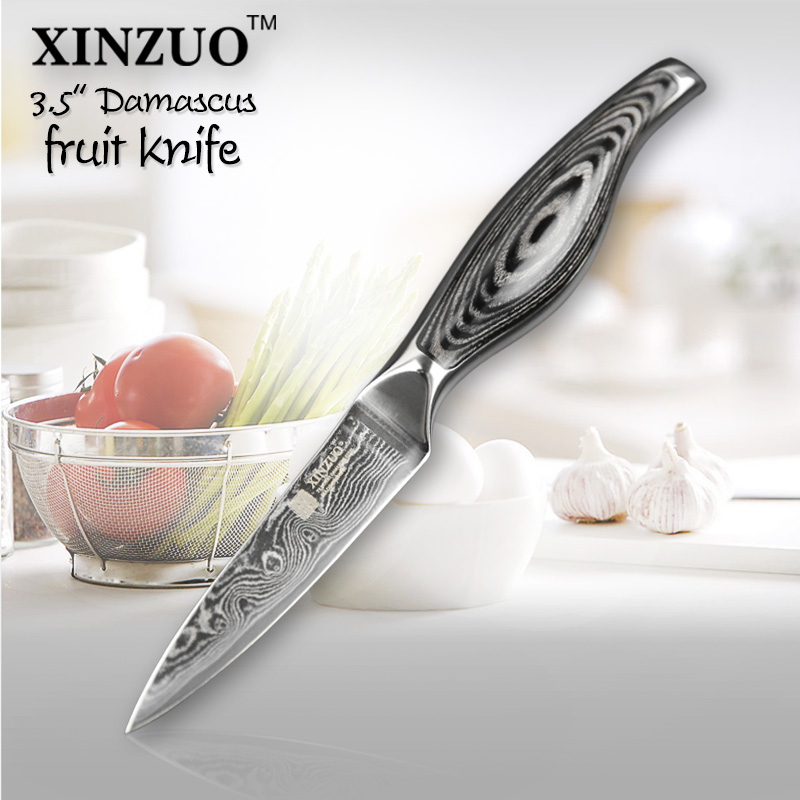 XINZUO 3 5 inch paring font b knife b font Japanese VG10 73 layer Damascus kitchen