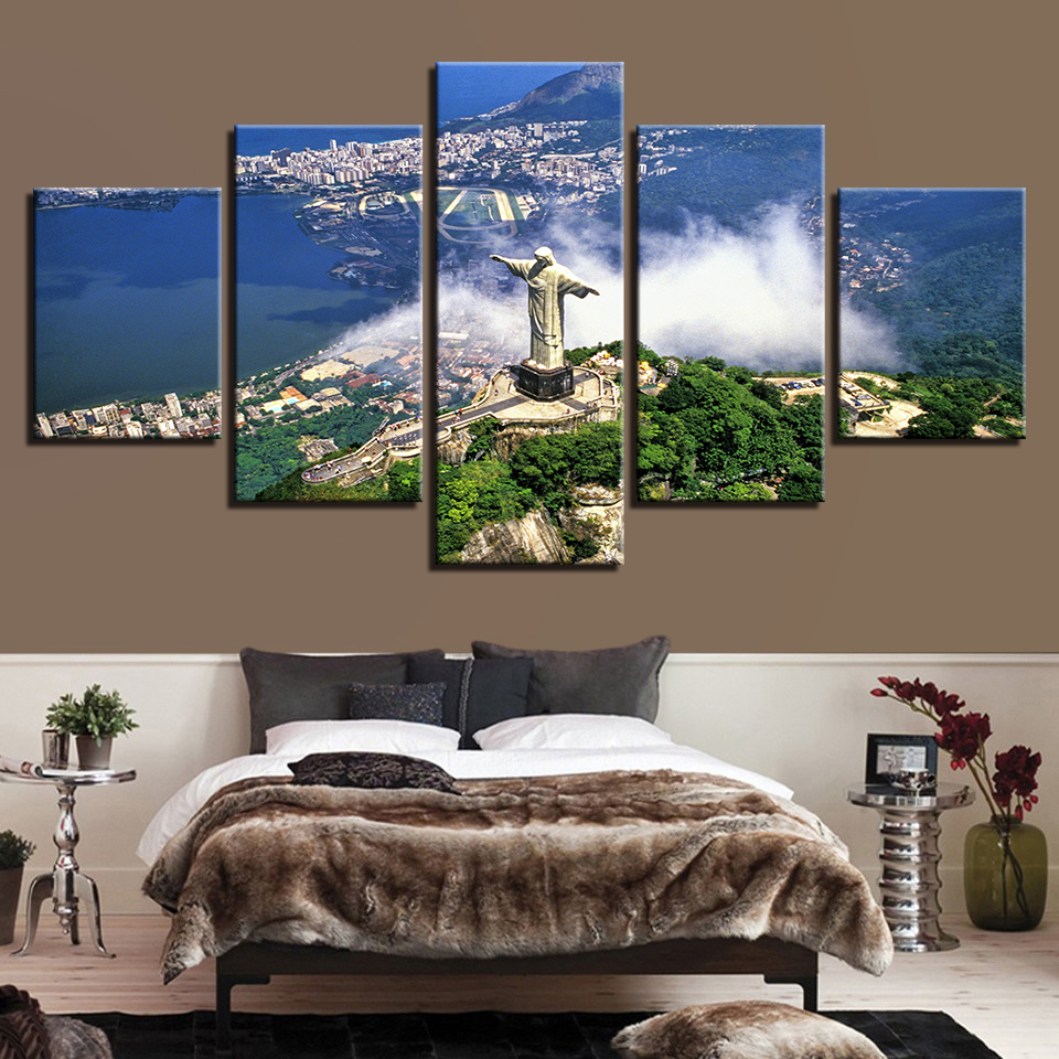 Painting Framework Photo Blue Sky Fashion Popular 5 Panel The Statue Canvas Art Prints Wall Modular Picture Kids Room Poster