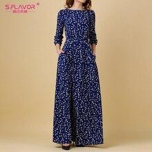 Женское длинное платье S.FLAVOR, повседневное винтажное платье с принтом, с о вырезом, без карманов, на весну лето