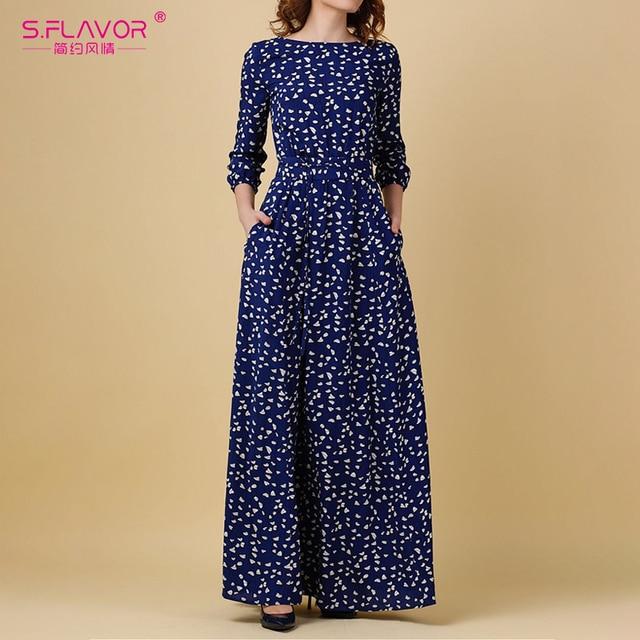 S.รส VINTAGE พิมพ์ชุดยาวผู้หญิงสบายๆฤดูใบไม้ผลิฤดูร้อน Elegant O คอผู้หญิง Maxi Vestidos ไม่มีกระเป๋า