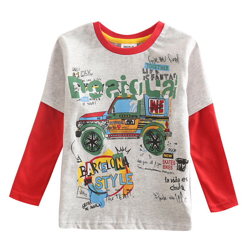 novatx A5078y Hot Sale car printed autumn T Shirt Kids Long Sleeve Fashion Team Tshirt Cotton Boys Girls Tops 2018