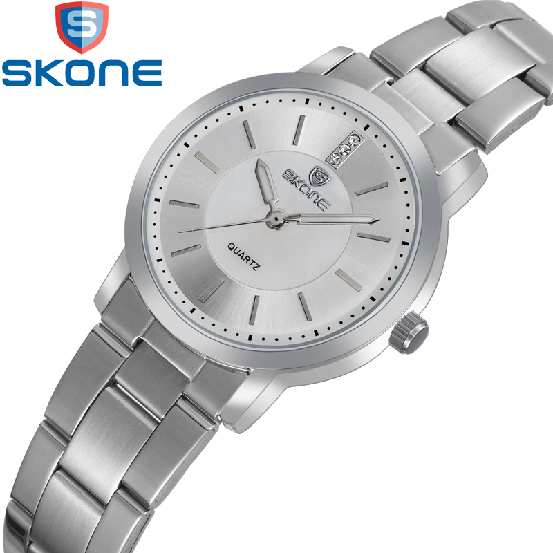 купить SKONE Watch Girl Stainless Steel Watchband Watches Wmen Life Waterproof Business Quartz Wristwatches HE7356 по цене 558.5 рублей